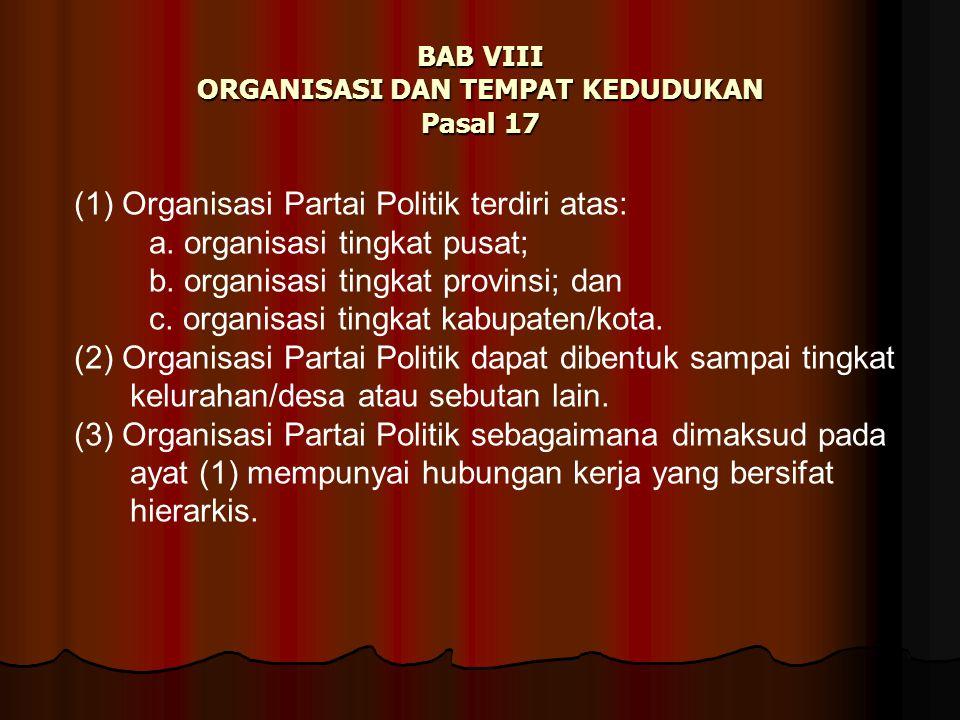 BAB VIII ORGANISASI DAN TEMPAT KEDUDUKAN Pasal 17