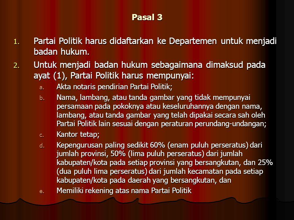 Pasal 3 Partai Politik harus didaftarkan ke Departemen untuk menjadi badan hukum.
