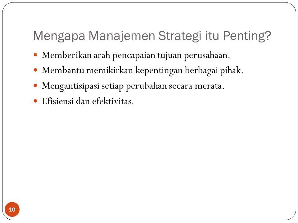 Mengapa Manajemen Strategi itu Penting