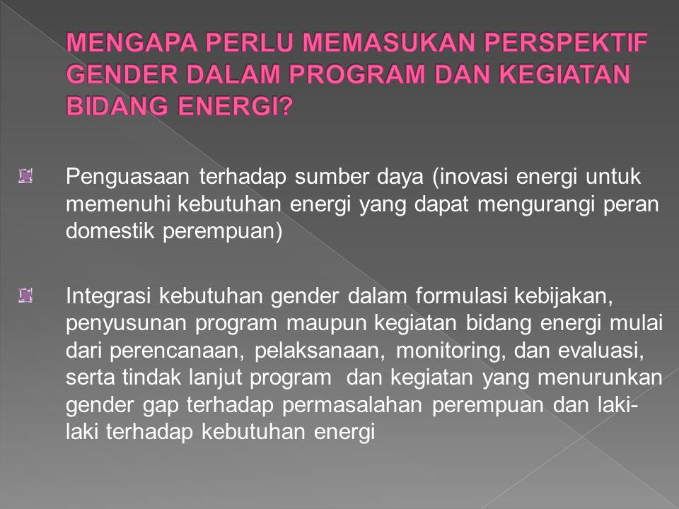 MENGAPA PERLU MEMASUKAN PERSPEKTIF GENDER DALAM PROGRAM DAN KEGIATAN BIDANG ENERGI