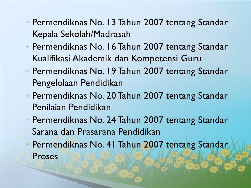 Permendiknas No. 13 Tahun 2007 tentang Standar Kepala Sekolah/Madrasah
