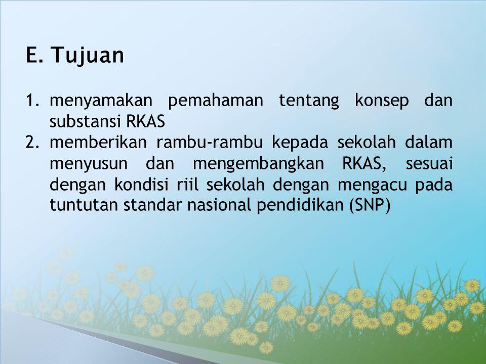 E. Tujuan menyamakan pemahaman tentang konsep dan substansi RKAS