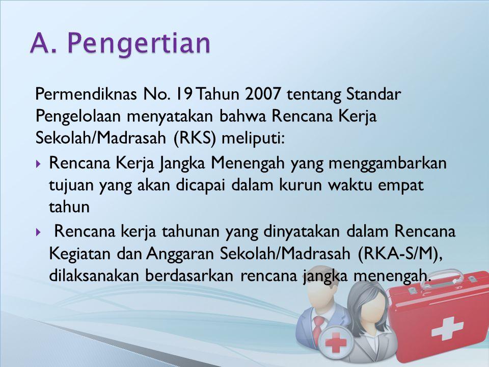 A. Pengertian Permendiknas No. 19 Tahun 2007 tentang Standar Pengelolaan menyatakan bahwa Rencana Kerja Sekolah/Madrasah (RKS) meliputi: