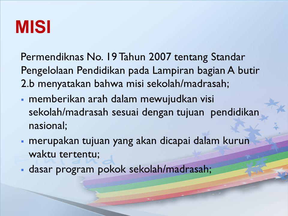 MISI Permendiknas No. 19 Tahun 2007 tentang Standar Pengelolaan Pendidikan pada Lampiran bagian A butir 2.b menyatakan bahwa misi sekolah/madrasah;