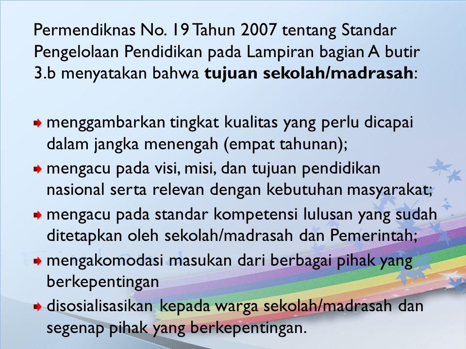 Permendiknas No. 19 Tahun 2007 tentang Standar Pengelolaan Pendidikan pada Lampiran bagian A butir 3.b menyatakan bahwa tujuan sekolah/madrasah: