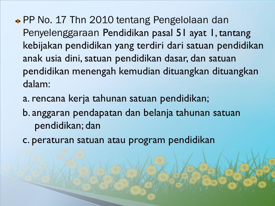 PP No. 17 Thn 2010 tentang Pengelolaan dan Penyelenggaraan Pendidikan pasal 51 ayat 1, tantang kebijakan pendidikan yang terdiri dari satuan pendidikan anak usia dini, satuan pendidikan dasar, dan satuan pendidikan menengah kemudian dituangkan dituangkan dalam: