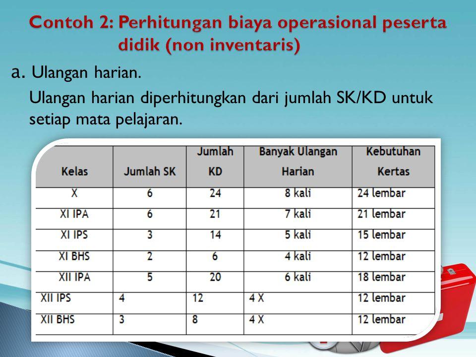 Contoh 2: Perhitungan biaya operasional peserta didik (non inventaris)