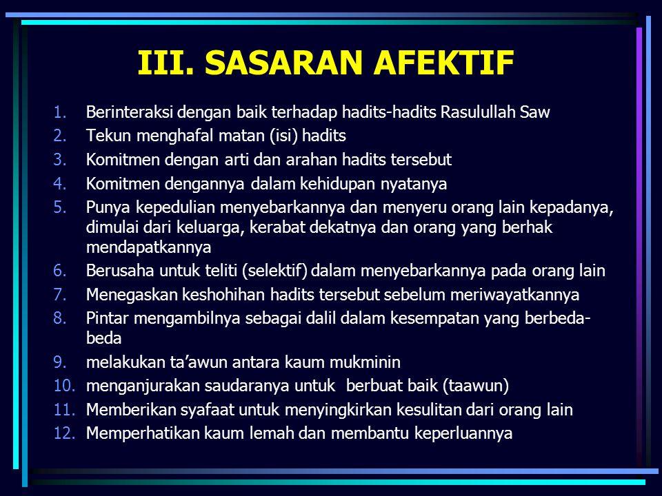 III. SASARAN AFEKTIF Berinteraksi dengan baik terhadap hadits-hadits Rasulullah Saw. Tekun menghafal matan (isi) hadits.