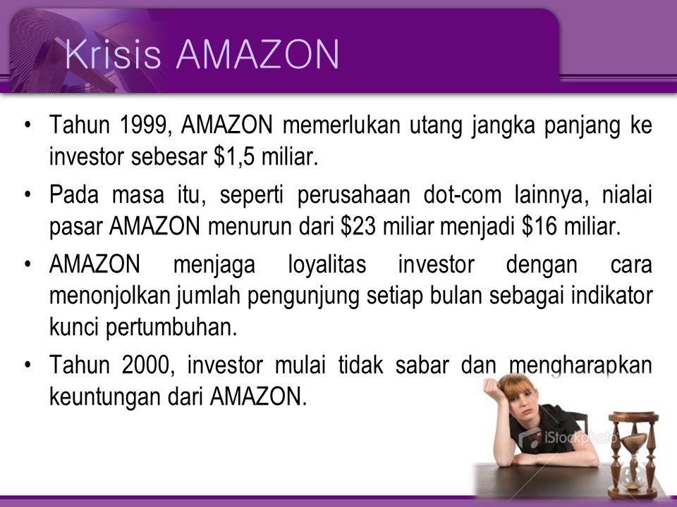 Krisis AMAZON Tahun 1999, AMAZON memerlukan utang jangka panjang ke investor sebesar $1,5 miliar.