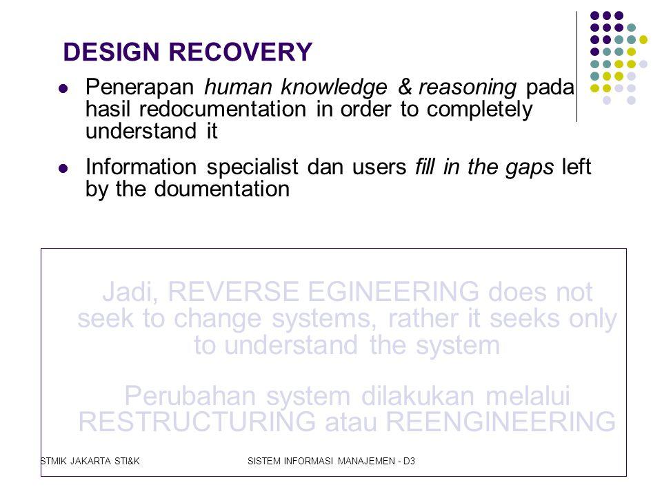 Perubahan system dilakukan melalui RESTRUCTURING atau REENGINEERING