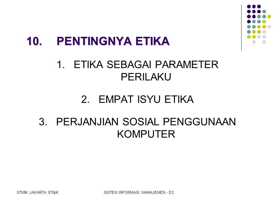 10. PENTINGNYA ETIKA 1. ETIKA SEBAGAI PARAMETER PERILAKU