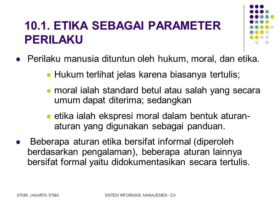 10.1. ETIKA SEBAGAI PARAMETER PERILAKU