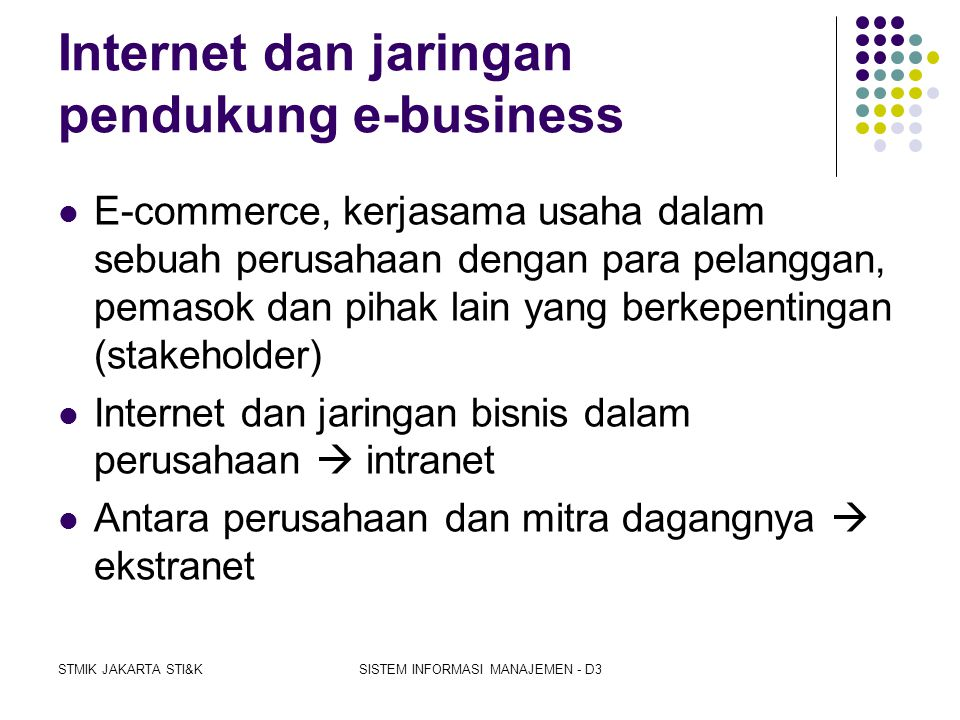 Internet dan jaringan pendukung e-business