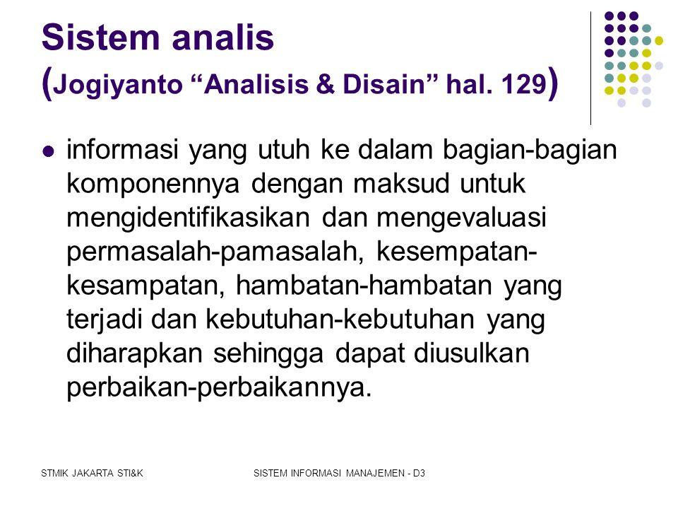 Sistem analis (Jogiyanto Analisis & Disain hal. 129)