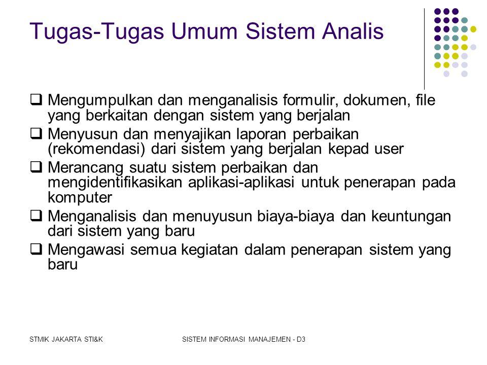 Tugas-Tugas Umum Sistem Analis