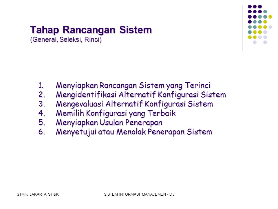 Tahap Rancangan Sistem (General, Seleksi, Rinci)