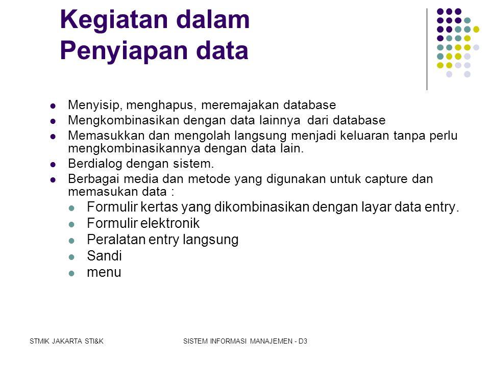 Kegiatan dalam Penyiapan data