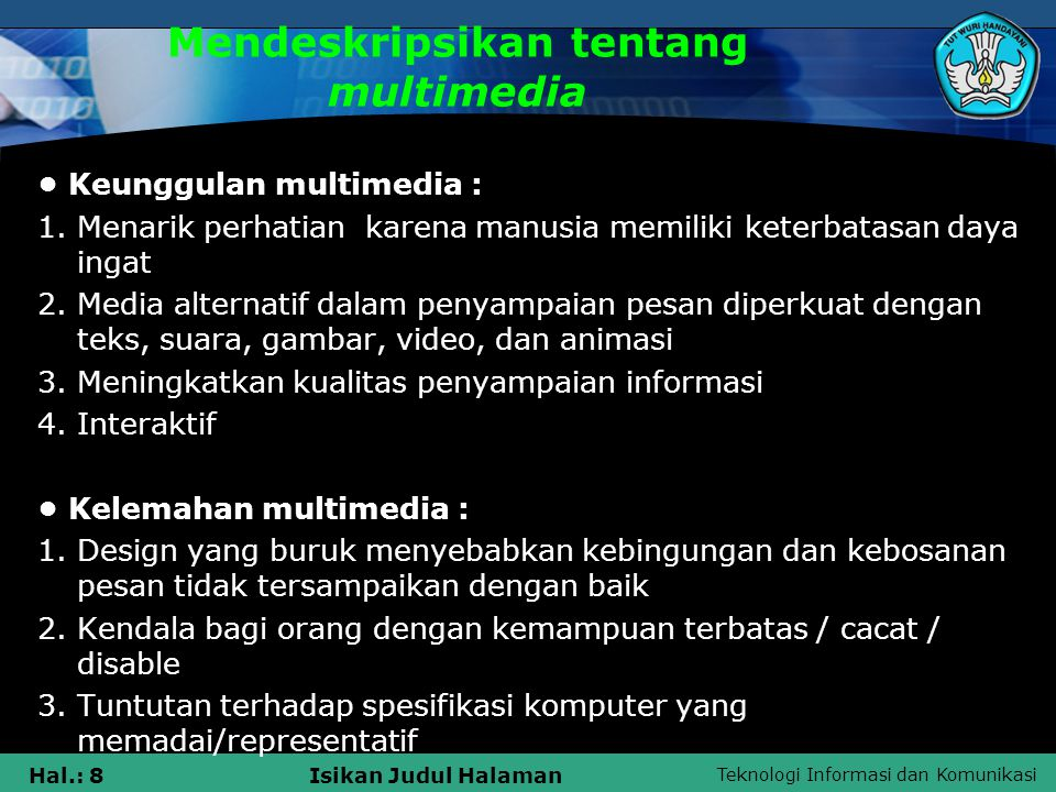Mendeskripsikan tentang multimedia