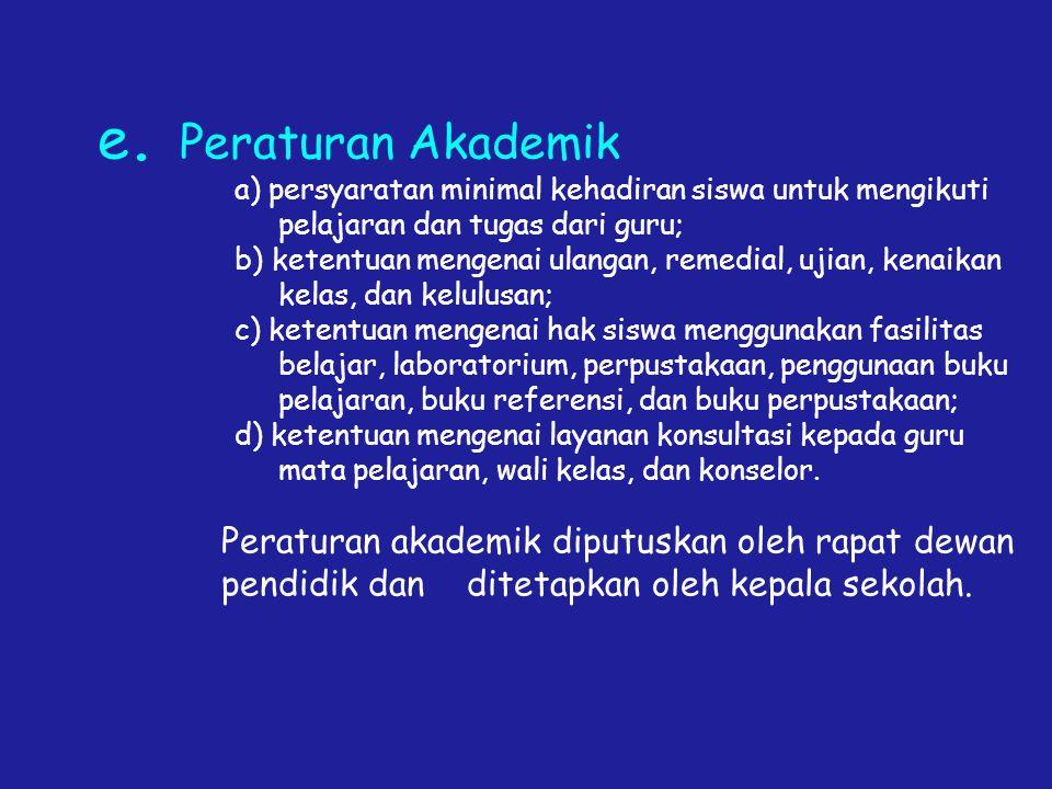 e. Peraturan Akademik a) persyaratan minimal kehadiran siswa untuk mengikuti. pelajaran dan tugas dari guru;
