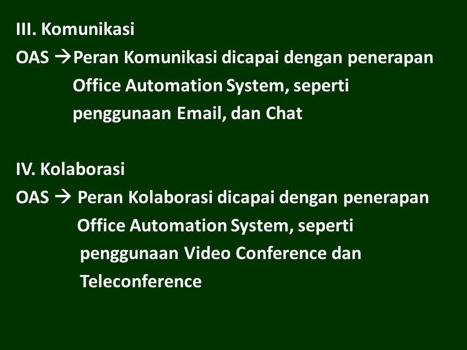 III. Komunikasi OAS Peran Komunikasi dicapai dengan penerapan. Office Automation System, seperti.