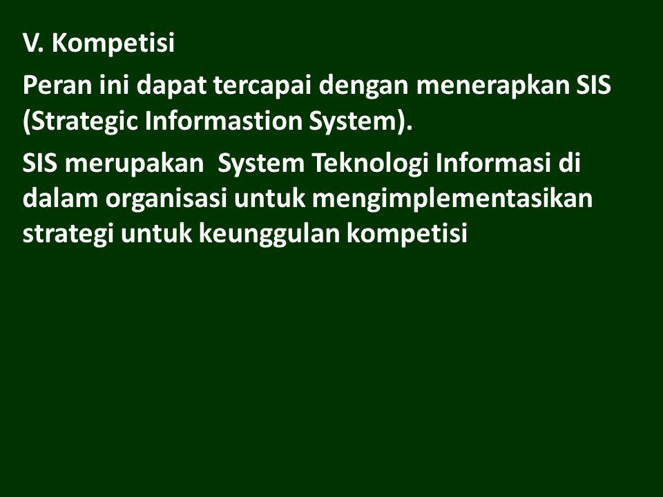 V. Kompetisi Peran ini dapat tercapai dengan menerapkan SIS (Strategic Informastion System).