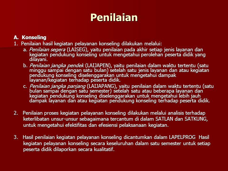 Penilaian A. Konseling. 1. Penilaian hasil kegiatan pelayanan konseling dilakukan melalui: