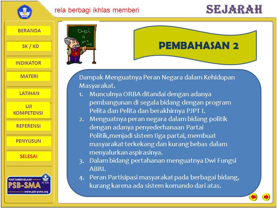 PEMBAHASAN 2 Dampak Menguatnya Peran Negara dalam Kehidupan Masyarakat.
