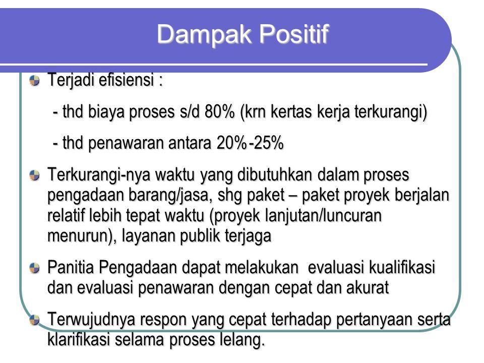 Dampak Positif Terjadi efisiensi :