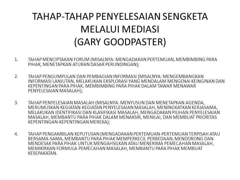 TAHAP-TAHAP PENYELESAIAN SENGKETA MELALUI MEDIASI (GARY GOODPASTER)