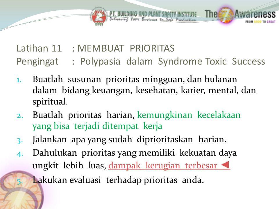 Latihan 11 : MEMBUAT PRIORITAS Pengingat : Polypasia dalam Syndrome Toxic Success
