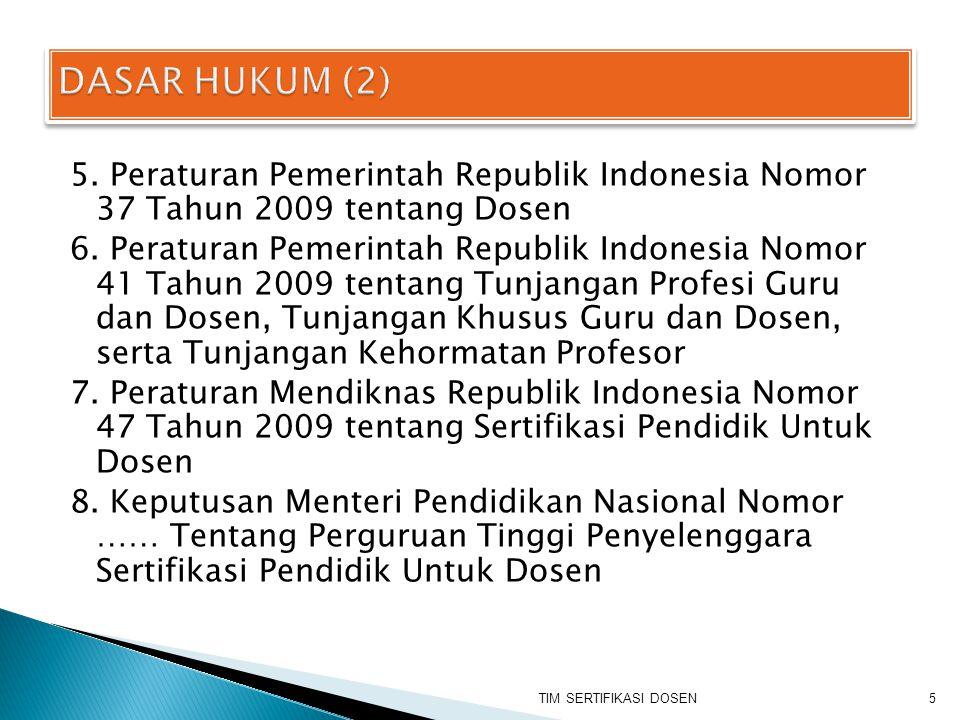DASAR HUKUM (2) 5. Peraturan Pemerintah Republik Indonesia Nomor 37 Tahun 2009 tentang Dosen.
