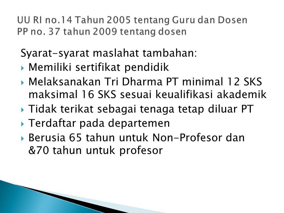 Syarat-syarat maslahat tambahan: Memiliki sertifikat pendidik