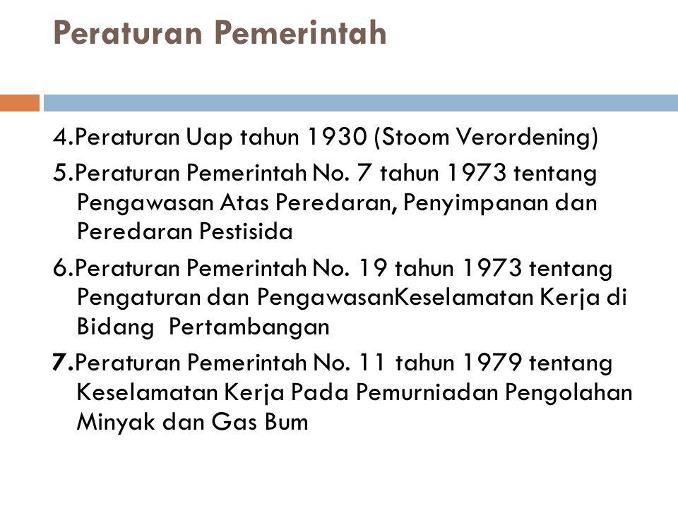 Peraturan Pemerintah 4.Peraturan Uap tahun 1930 (Stoom Verordening)