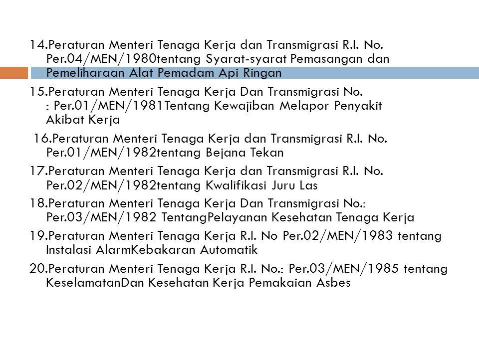 14. Peraturan Menteri Tenaga Kerja dan Transmigrasi R. I. No. Per