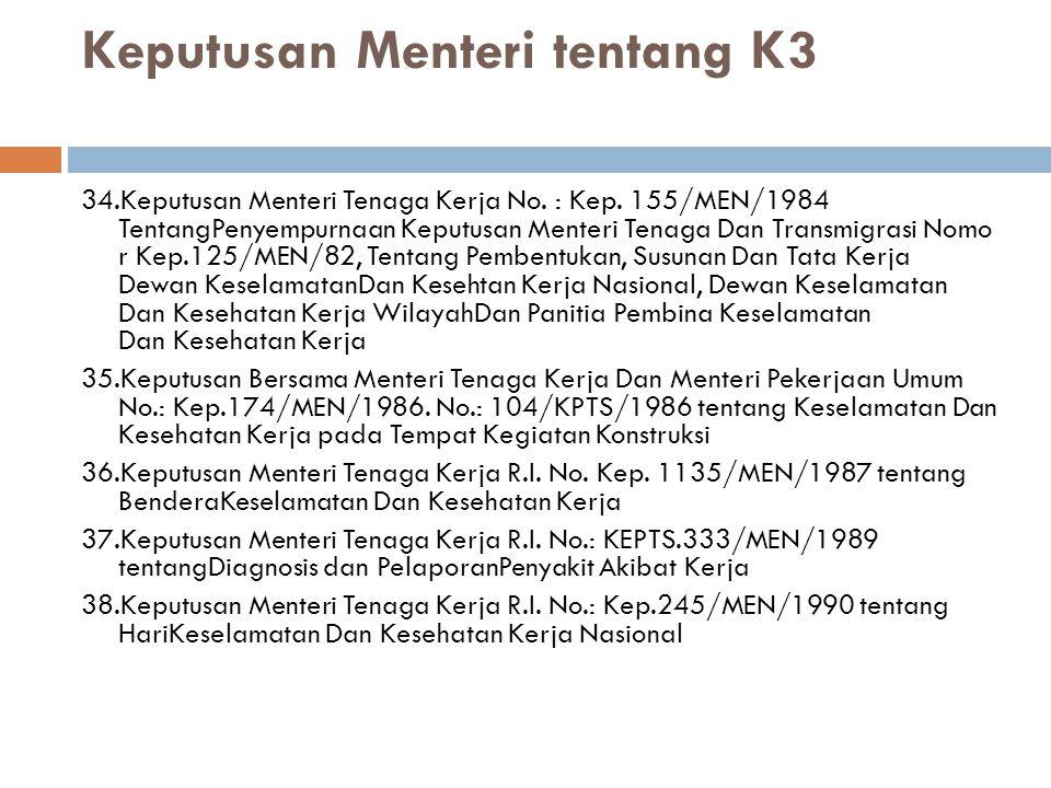 Keputusan Menteri tentang K3