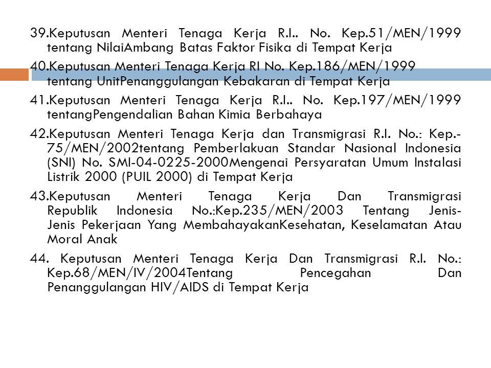 39. Keputusan Menteri Tenaga Kerja R. I. No. Kep