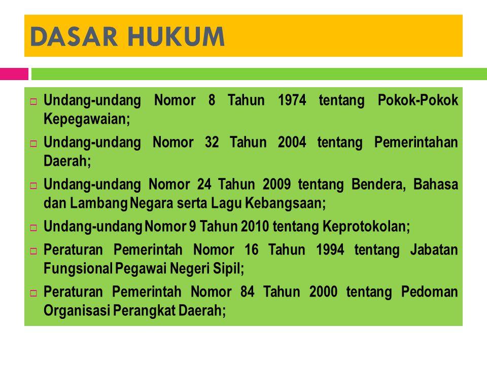 DASAR HUKUM Undang-undang Nomor 8 Tahun 1974 tentang Pokok-Pokok Kepegawaian; Undang-undang Nomor 32 Tahun 2004 tentang Pemerintahan Daerah;