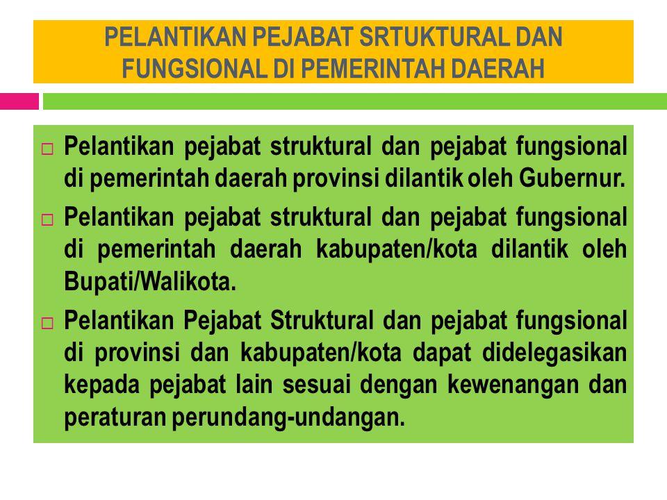 PELANTIKAN PEJABAT SRTUKTURAL DAN FUNGSIONAL DI PEMERINTAH DAERAH