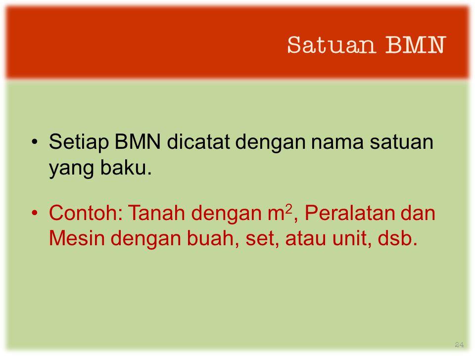Satuan BMN Setiap BMN dicatat dengan nama satuan yang baku.