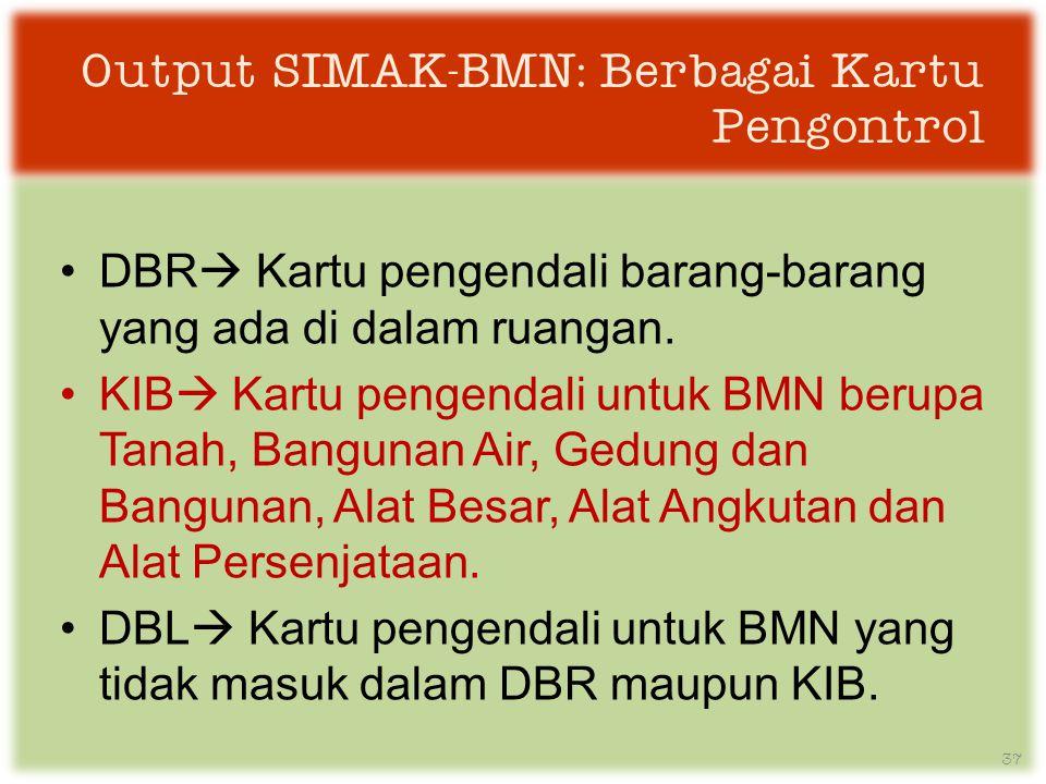 Output SIMAK-BMN: Berbagai Kartu Pengontrol