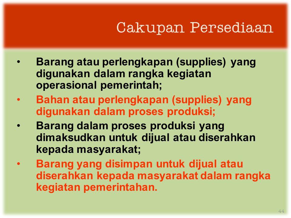 Cakupan Persediaan Barang atau perlengkapan (supplies) yang digunakan dalam rangka kegiatan operasional pemerintah;