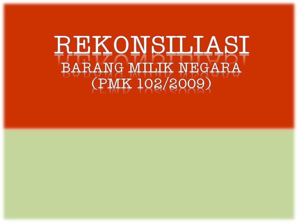 Rekonsiliasi Barang milik negara (PMK 102/2009)