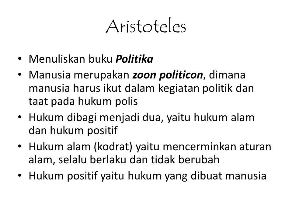 Aristoteles Menuliskan buku Politika