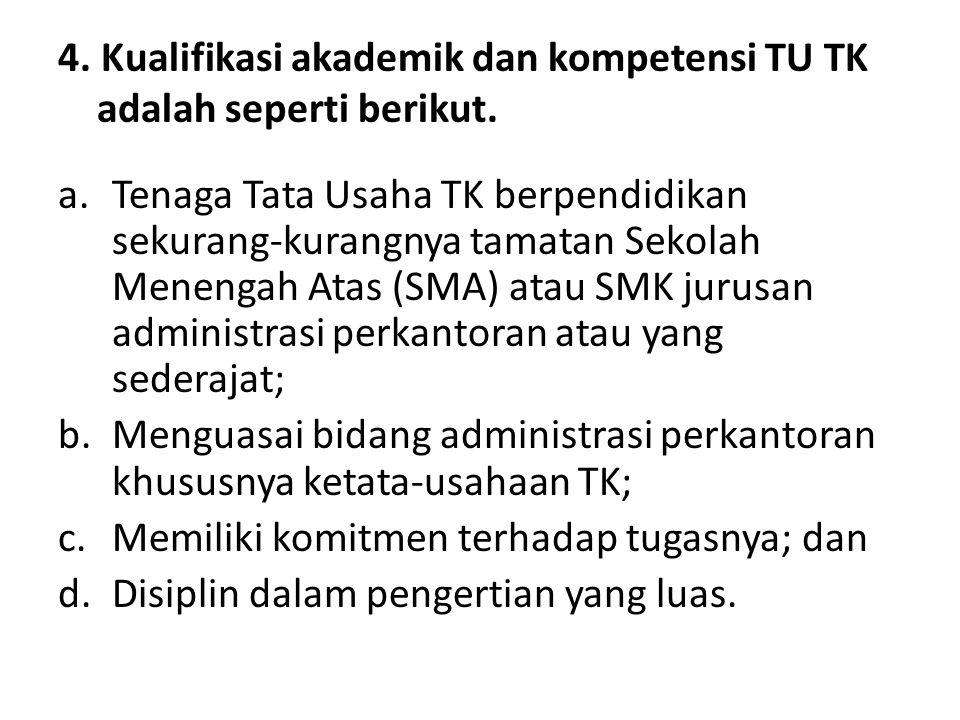 4. Kualifikasi akademik dan kompetensi TU TK adalah seperti berikut.