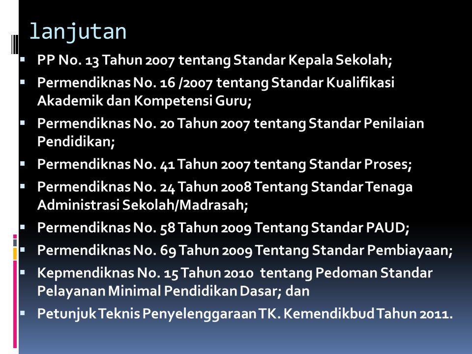 lanjutan PP No. 13 Tahun 2007 tentang Standar Kepala Sekolah;