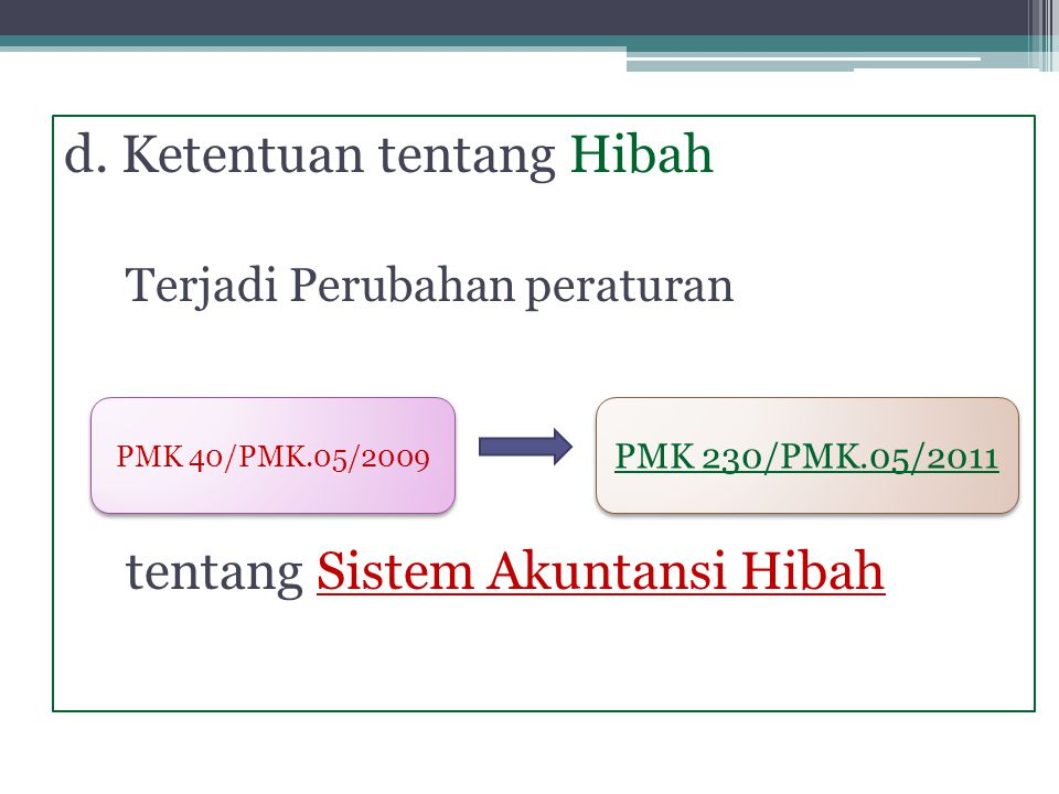 d. Ketentuan tentang Hibah Terjadi Perubahan peraturan tentang Sistem Akuntansi Hibah