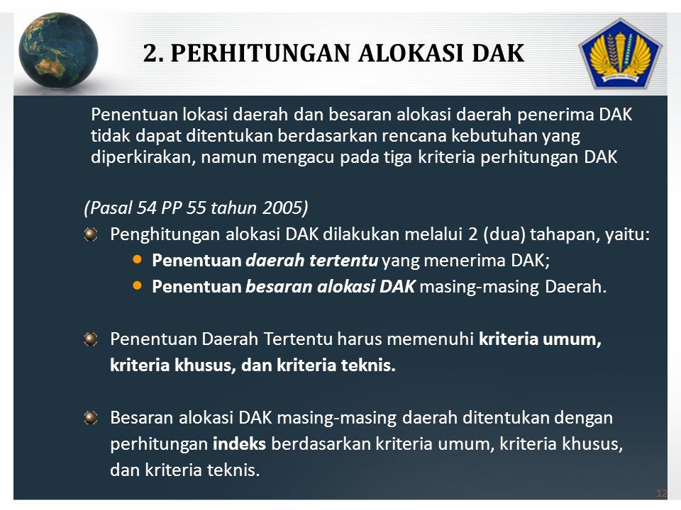 2. PERHITUNGAN ALOKASI DAK