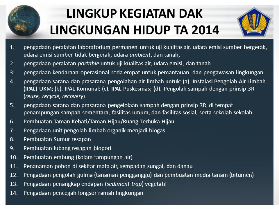 LINGKUP KEGIATAN DAK LINGKUNGAN HIDUP TA 2014