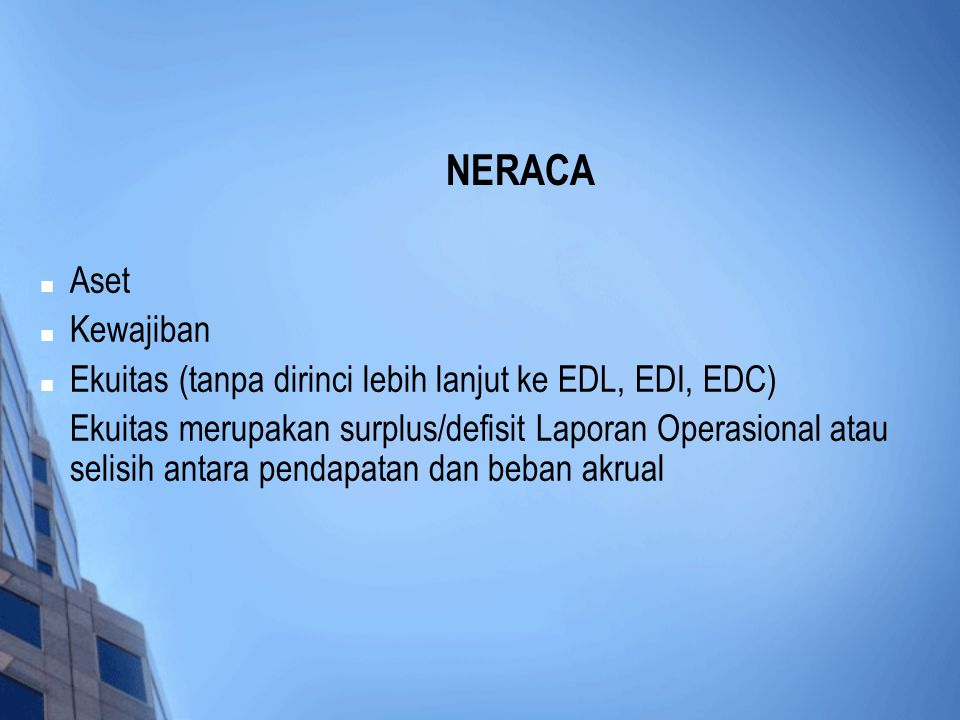 NERACA Aset. Kewajiban. Ekuitas (tanpa dirinci lebih lanjut ke EDL, EDI, EDC)