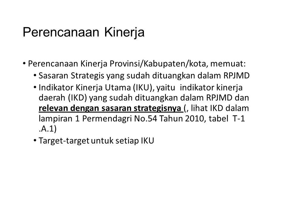 Perencanaan Kinerja Perencanaan Kinerja Provinsi/Kabupaten/kota, memuat: Sasaran Strategis yang sudah dituangkan dalam RPJMD.